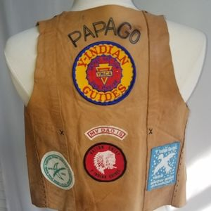 Vintage Children's YMCA Indian Guide Leather Vest